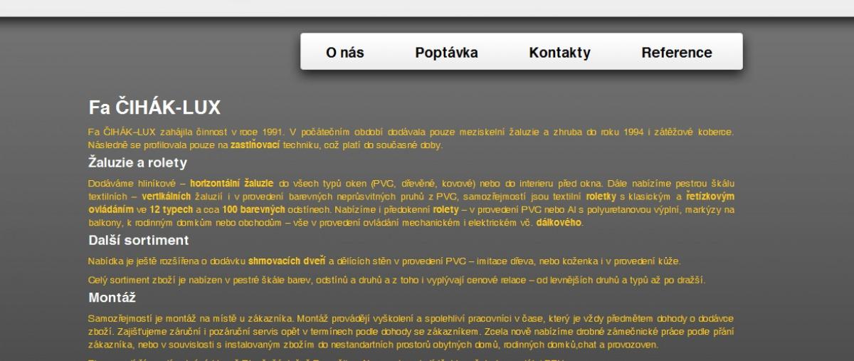 Čihák - LUX - úvodní stránka