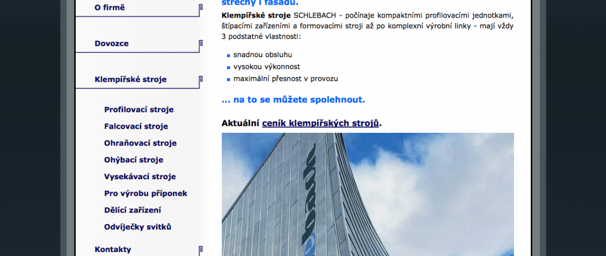 klempířské stroje SCHLEBACH - titulní strana